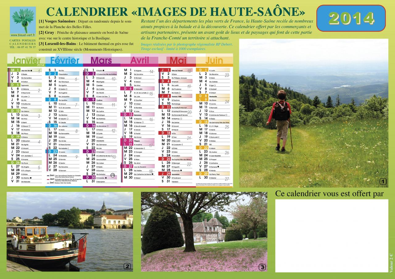 Calendrier format A4